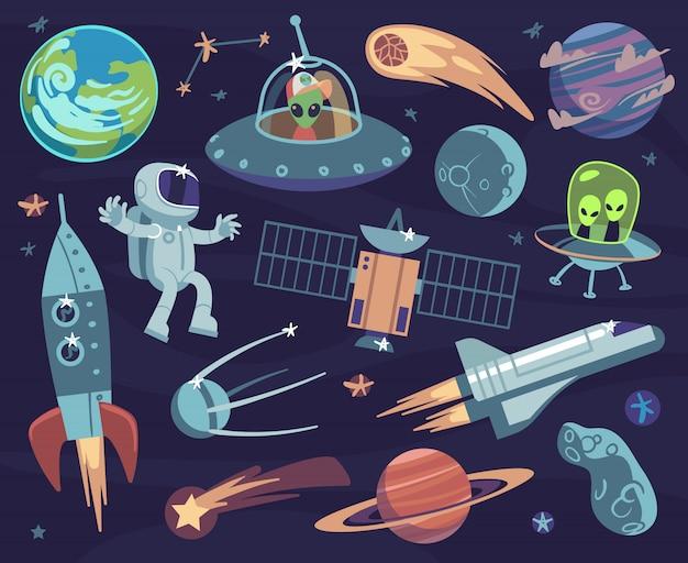 Conjunto de espaço dos desenhos animados. astronautas fofos e alienígenas ufo, planetas satélites e estrelas. papéis de parede de crianças de meteorito e nave espacial vector quadrinhos doodle asteróide e sputnik, cometa e lua fantástica Vetor Premium