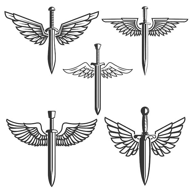 Conjunto de espadas com asas. elementos para o logotipo, etiqueta, emblema, sinal. ilustração Vetor Premium