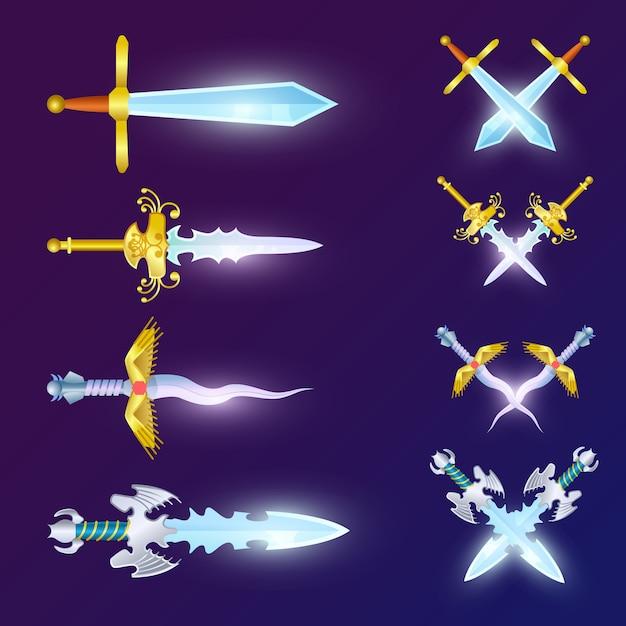 Conjunto de espadas épicas cruzadas Vetor Premium