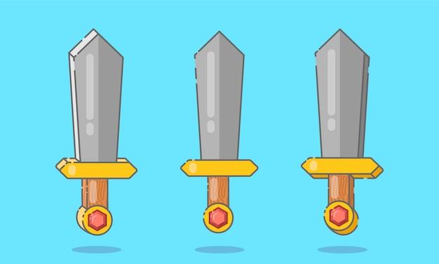 Conjunto de espadas planas ou punhais Vetor Premium