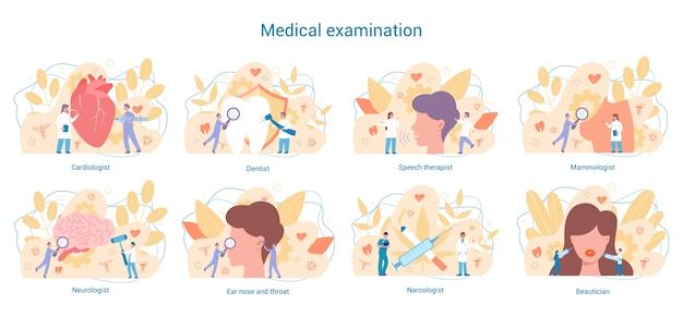 Conjunto de especialidades médicas. dentista e cardiologista, neurologista e narcologista. diagnóstico e tratamento de doenças. Vetor Premium