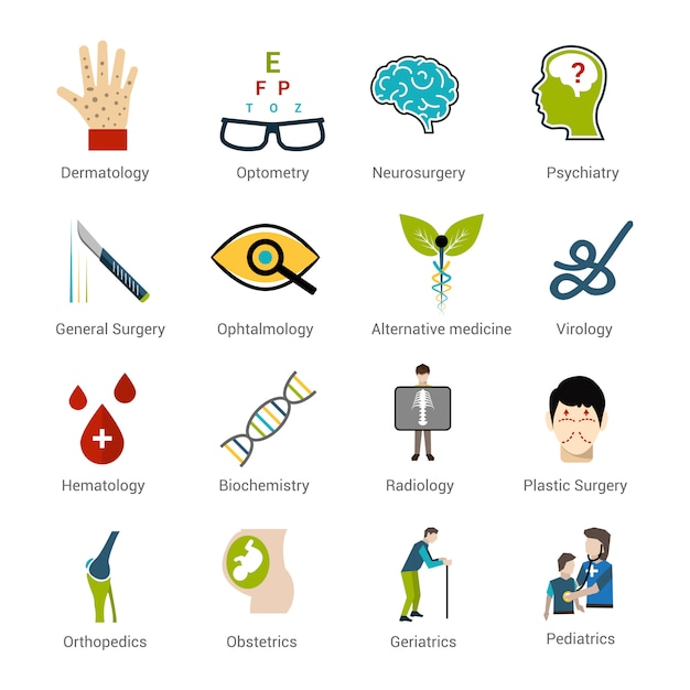 Conjunto de especialidades médicas Vetor grátis