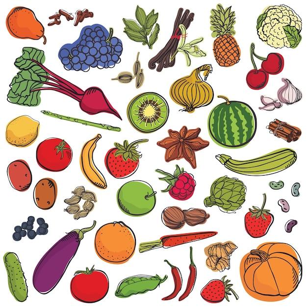 Conjunto de especiarias e legumes e frutas grande Vetor grátis