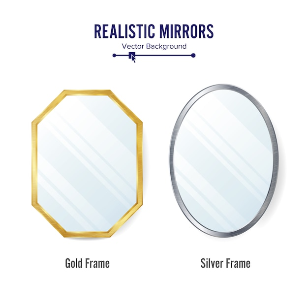Conjunto de espelhos realistas Vetor Premium