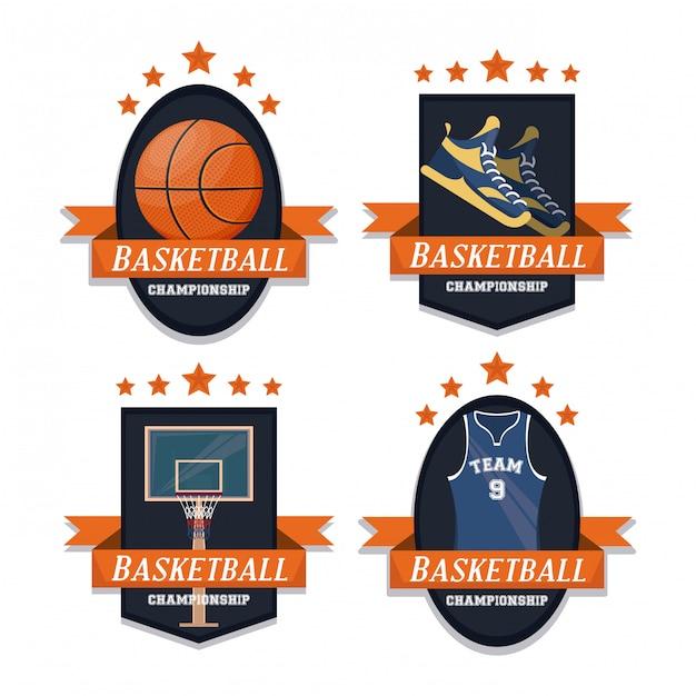 Conjunto de esporte de basquete de emblemas Vetor grátis