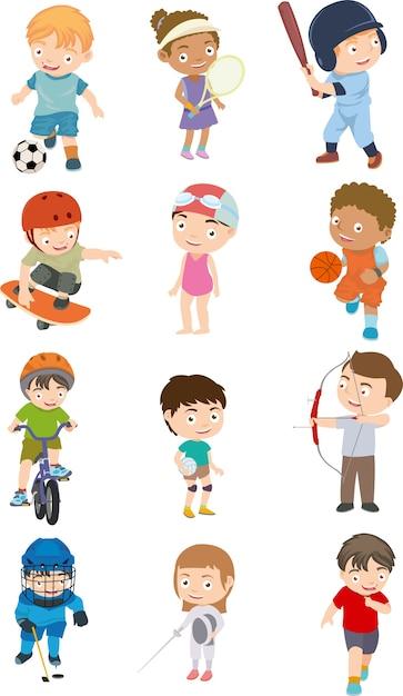 Conjunto de esporte de crianças Vetor Premium