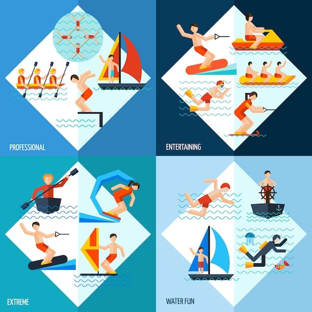 Conjunto de esportes aquáticos Vetor grátis
