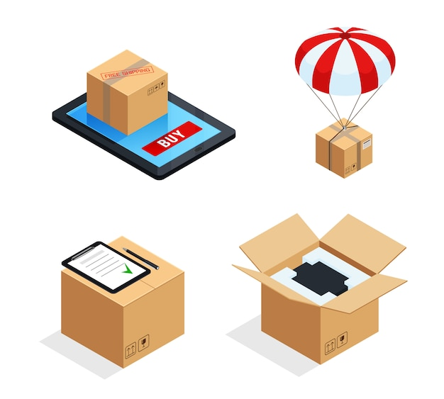Conjunto de estágios de entrega de encomendas Vetor grátis
