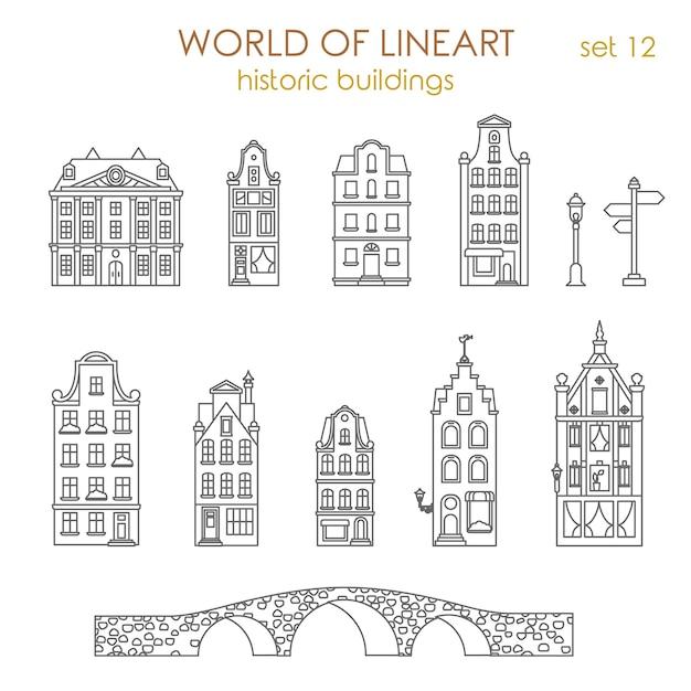 Conjunto de estilo de arquitetura de edifícios antigos históricos. Vetor grátis