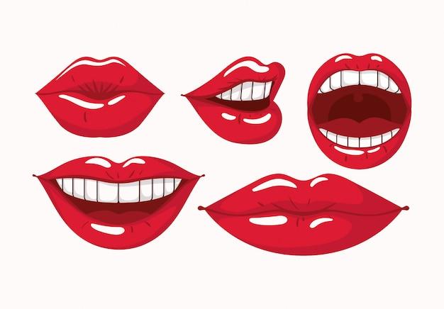 Conjunto de estilo de arte pop de lábios femininos Vetor Premium