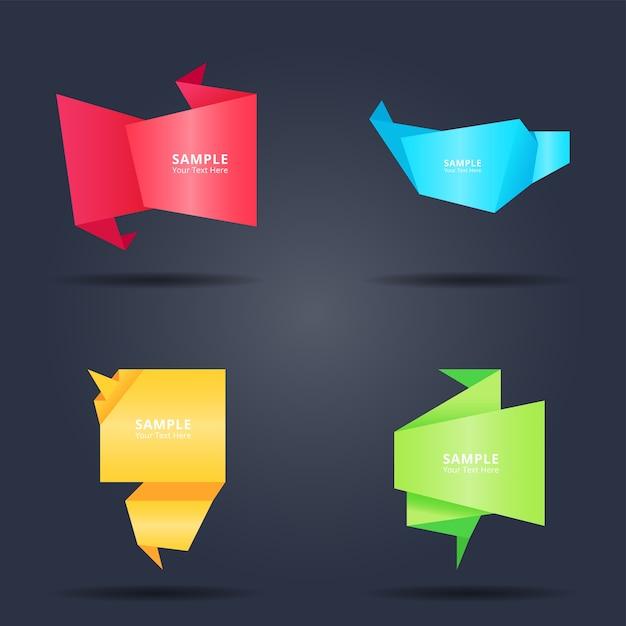 Conjunto de estilo de bandeiras de papel origami colorido abstrato Vetor Premium