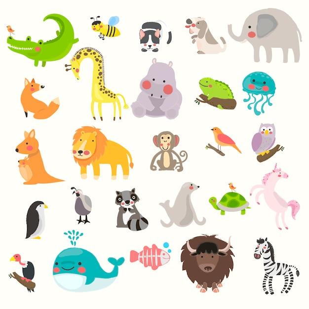 Conjunto de estilo de desenho ilustração da vida selvagem Vetor grátis