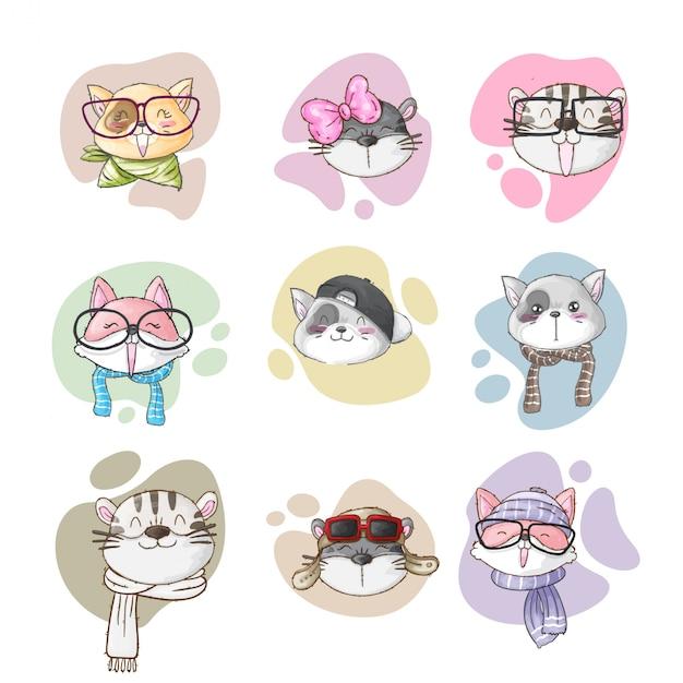 Conjunto de estilo de mão desenhada cartoon fofo animal Vetor Premium