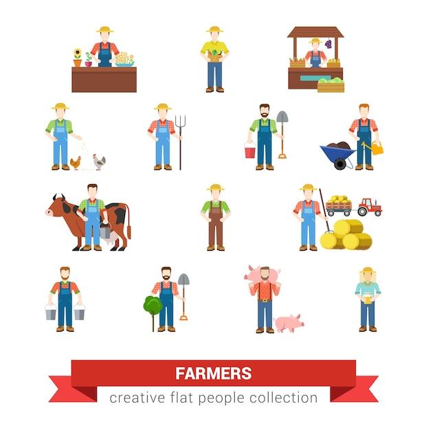 Conjunto de estilo simples de pessoas de trabalho de profissão de fazenda agricultor agricultor vendedor de mercado frango, porco criador colheitadeira leiteira leiteira apicultor ordenhador coleção de pessoas criativas Vetor grátis