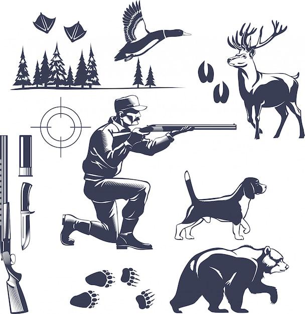 Conjunto de estilo vintage de caça Vetor grátis