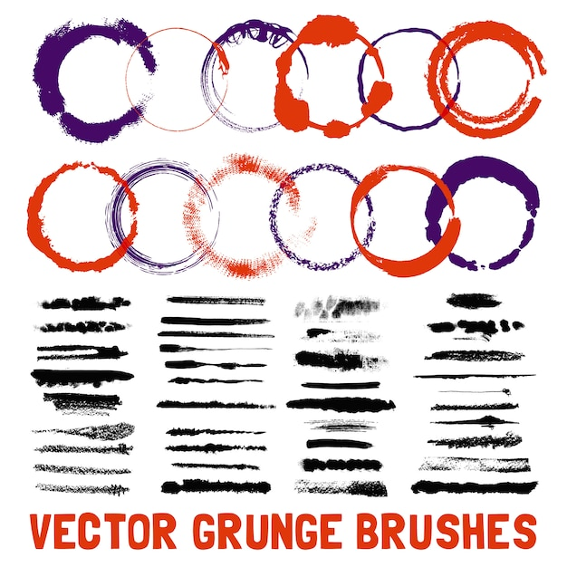 Conjunto de estilos de pincel de tinta com tinta Vetor grátis