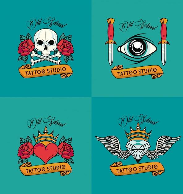 Conjunto de estilos de tatuagens coloridas Vetor Premium