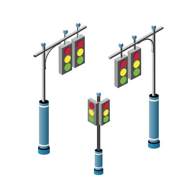 Conjunto de estrada da cidade isométrica Vetor Premium