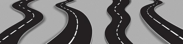 Conjunto de estradas sinuosas, estradas curvas para carros Vetor grátis