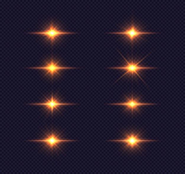 Conjunto de estrela brilhante. luzes brilhantes douradas explodindo em azul transparente Vetor Premium
