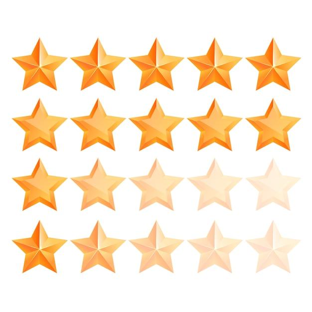 Conjunto de estrelas de ouro 3d realista. vencedor do prêmio. bom trabalho. a melhor recompensa. estrela de cobre a granel. estrela simples. o prêmio pela melhor escolha. classe premium. Vetor Premium