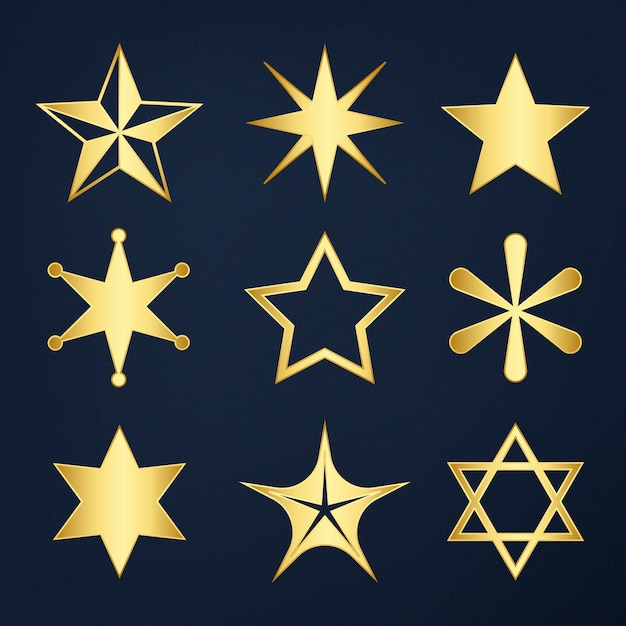 Conjunto de estrelas mistas Vetor grátis
