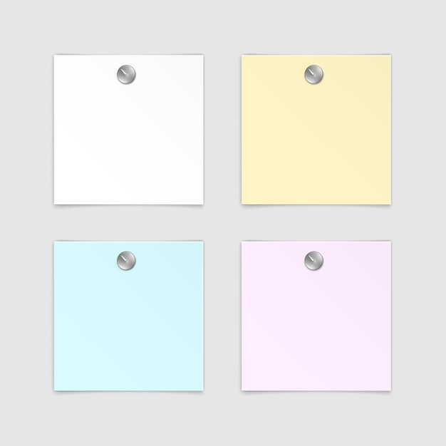 Conjunto de etiqueta autocolante de papel adesivo post memo etiqueta no fundo branco Vetor Premium