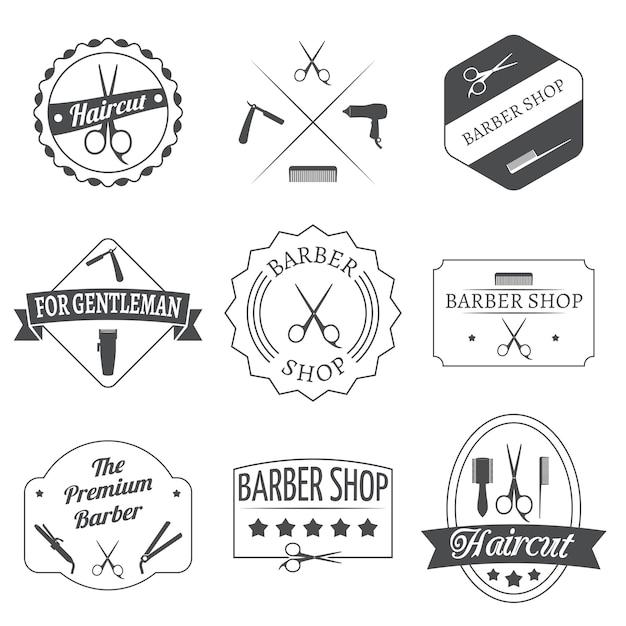 Conjunto de etiqueta de cabeleireiro Vetor grátis