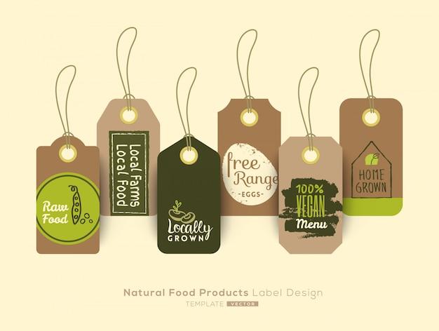 Conjunto de etiqueta de comida saudável orgânica e design de etiqueta autocolante Vetor Premium