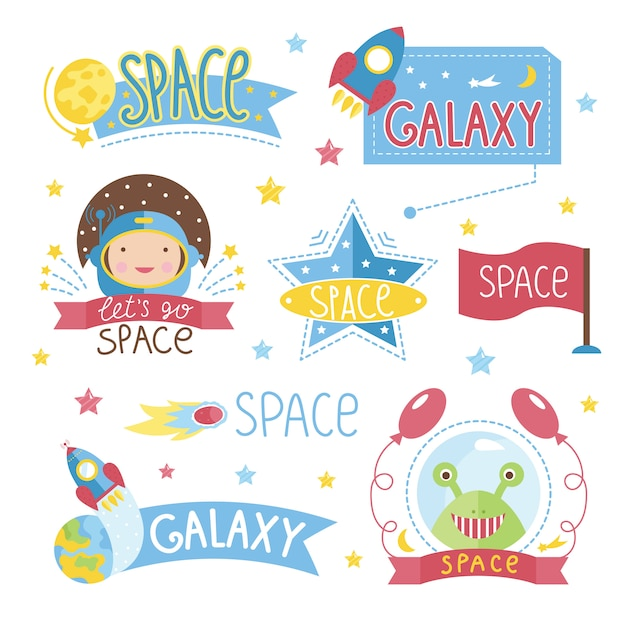 Conjunto de etiqueta de espaço dos desenhos animados Vetor Premium