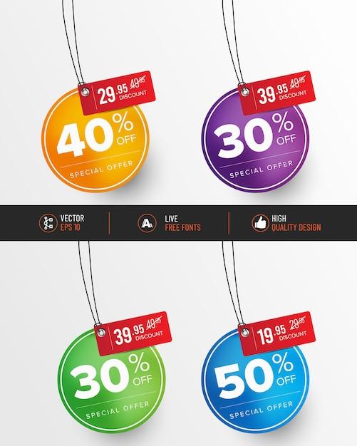 Conjunto de etiqueta de preço colorido Vetor Premium