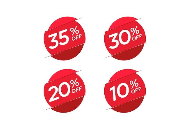 Conjunto de etiqueta de preço de oferta de desconto Vetor Premium