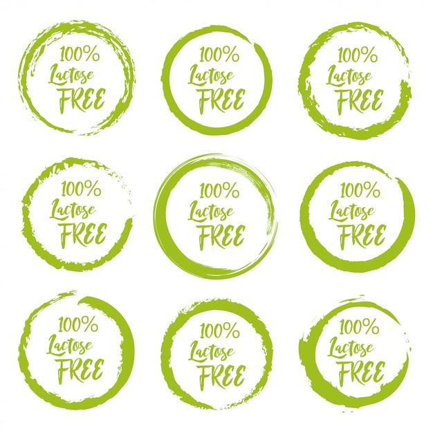 Conjunto de etiqueta de rótulo livre de lactose grunge em um fundo branco Vetor Premium