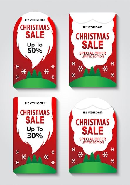 Conjunto de etiqueta de venda de natal com barba de papai noel Vetor Premium