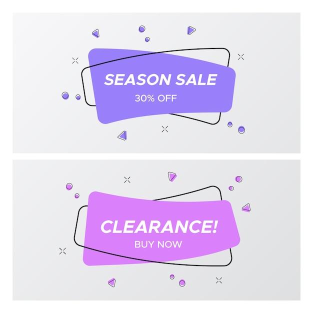 Conjunto de etiqueta de venda violeta em cores da moda e design Vetor Premium