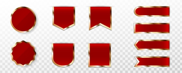 Conjunto de etiqueta, emblema ou etiqueta premium vermelha Vetor Premium