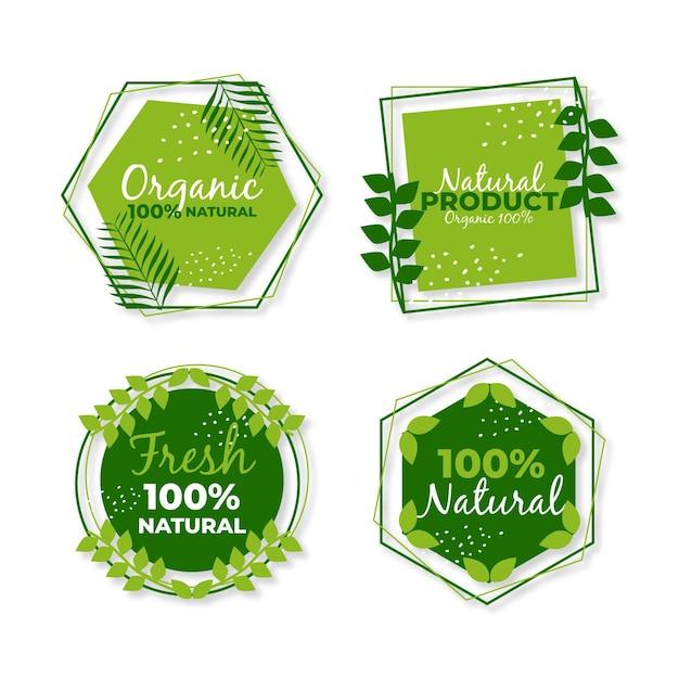 Conjunto de etiquetas 100% natural Vetor Premium