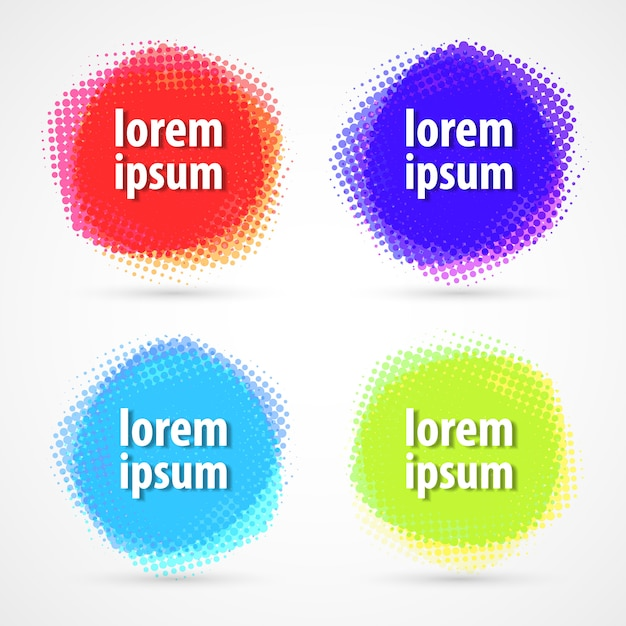 Conjunto de etiquetas coloridas de meio-tom do círculo. Vetor Premium