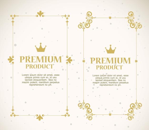 Conjunto de etiquetas com molduras douradas decorativas Vetor Premium