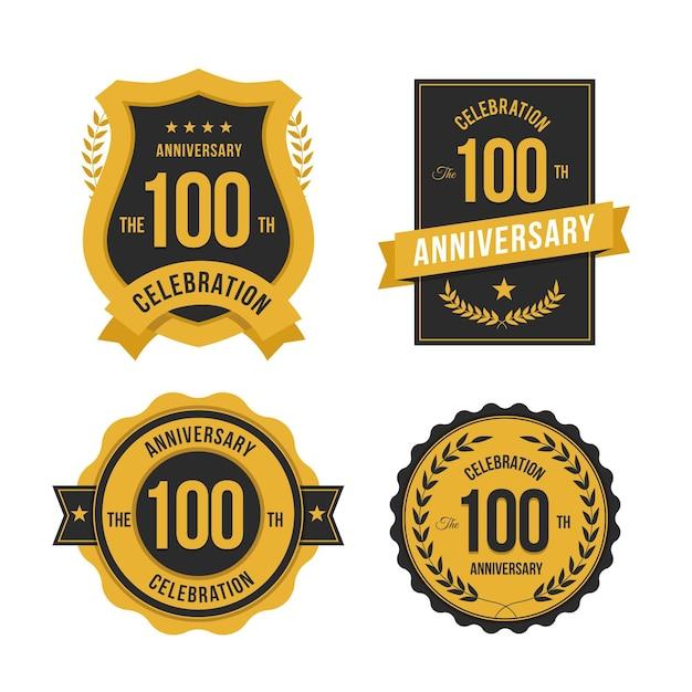 Conjunto de etiquetas de 100 aniversários Vetor Premium