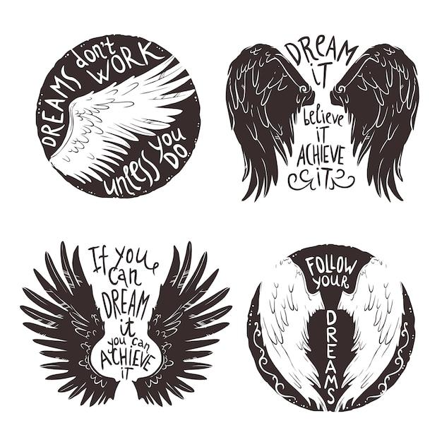 Conjunto de etiquetas de asas Vetor grátis