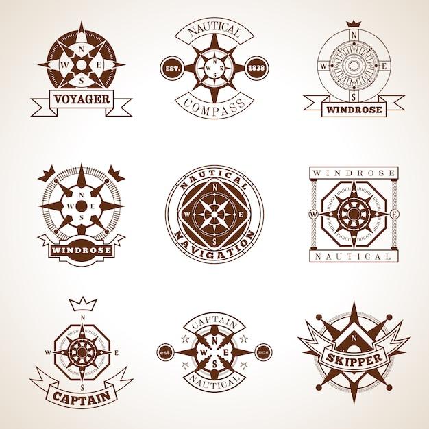 Conjunto de etiquetas de bússola Vetor grátis