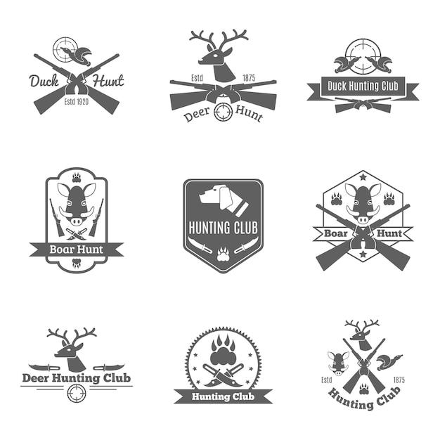 Conjunto de etiquetas de caça Vetor grátis