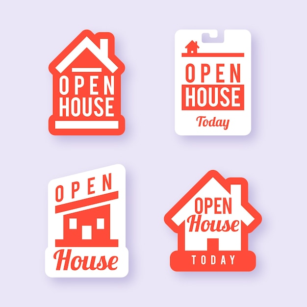 Conjunto de etiquetas de casa aberta Vetor grátis