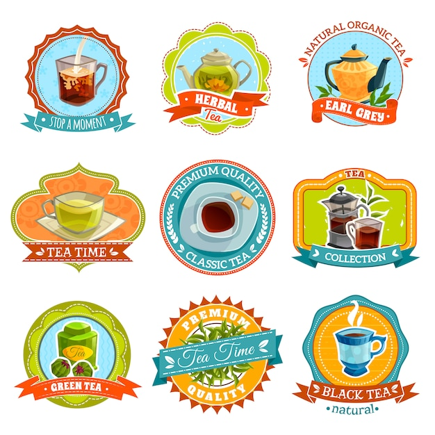 Conjunto de etiquetas de chá Vetor grátis