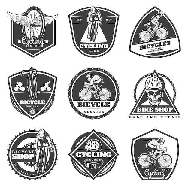 Conjunto de etiquetas de ciclismo monocromático Vetor grátis
