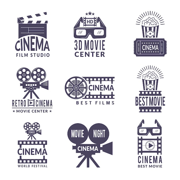 Conjunto de etiquetas de cinema. crachás com fotos em preto na indústria de produção de cinema e vídeo Vetor Premium