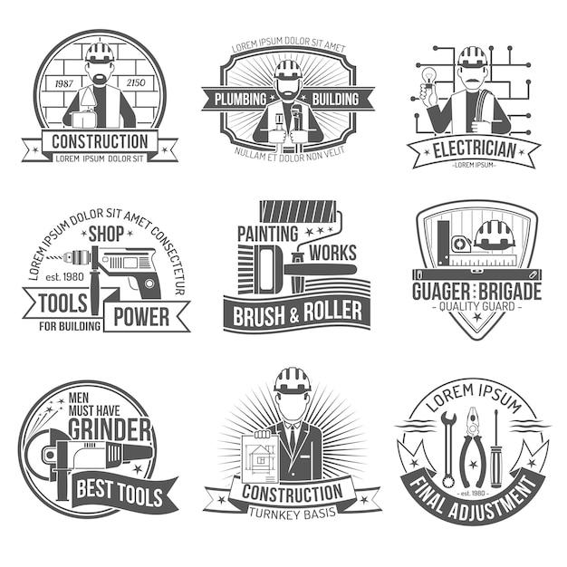 Conjunto de etiquetas de construção Vetor grátis