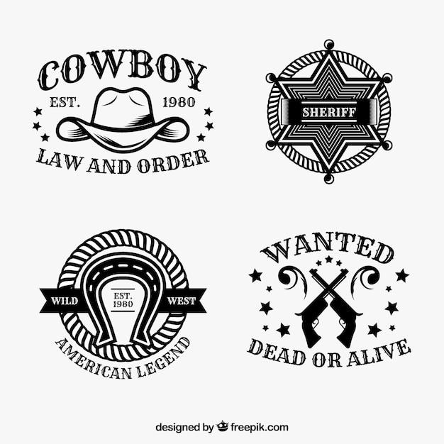 Conjunto de etiquetas de cowboy Vetor Premium
