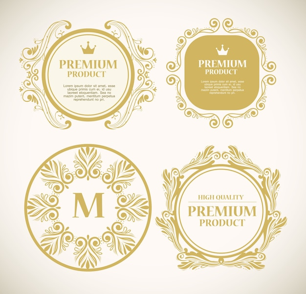 Conjunto de etiquetas de decoração de luxo em ouro Vetor Premium